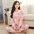 Moda Feminina Sleepwear Conjuntos Pijamas de Manga Longa Pijamas Das Mulheres Flor Floral Bonito Salão Sleepwear Calças de Pijama Longo Nighty