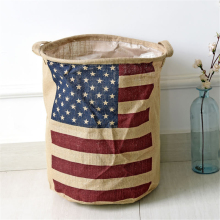 American Country Style Big Size Flag Foldable Sundries Storage Bucket Cotton And Linen Laundry