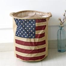 купить American Country Style Big Size American Flag Foldable Sundries Storage Bucket Cotton And Linen Laundry Bucket по цене 449.41 рублей