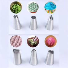 6pcs Large Metal Cake Cream Decoration Tips Stainless Steel Piping Icing Nozzles Fondant Decor Tip Nozzle Baking Tools