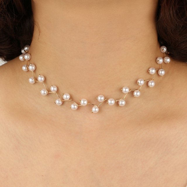 Crazy Feng New Trendy Leaf Design Simulated Pearl Choker Colar For Women Silver