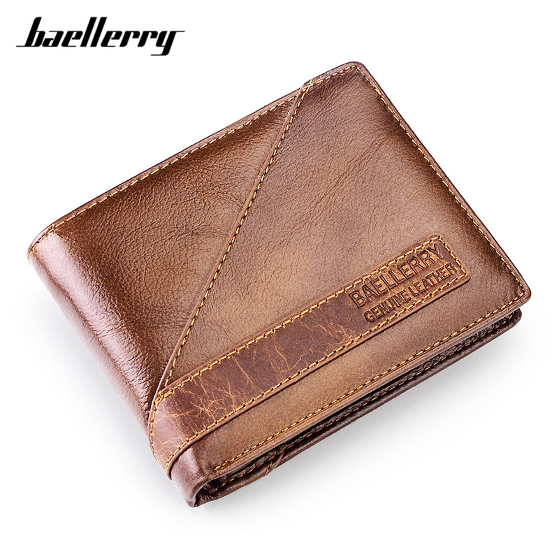 Baellerry Famous Brand Genuine Leather Men's Wallet Vintage Brown Male Short Purse ID Credit Card Holder Bifold Small Wallets hot sale 2015 harrms famous brand men s leather wallet with credit card holder in dollar price and free shipping