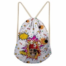 Noisydesigns Drawstring Bag cherrykoko star skull  Travel Sport Bags Cinch Sackback Cool Boy Girls Small Backpack Soft