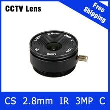 3Megapixel Fixed CS Mount 140 Wide angle Lens 2.8mm For 720P/960P/1080P IP CCTV Camera and AHD/CVI/TVI Camera Free Shipping