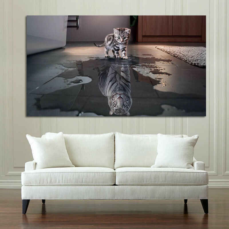 Frameless Modern Abstract Painting Decor Cat or Tiger Wall Decorative Canvas Art Calligraphy