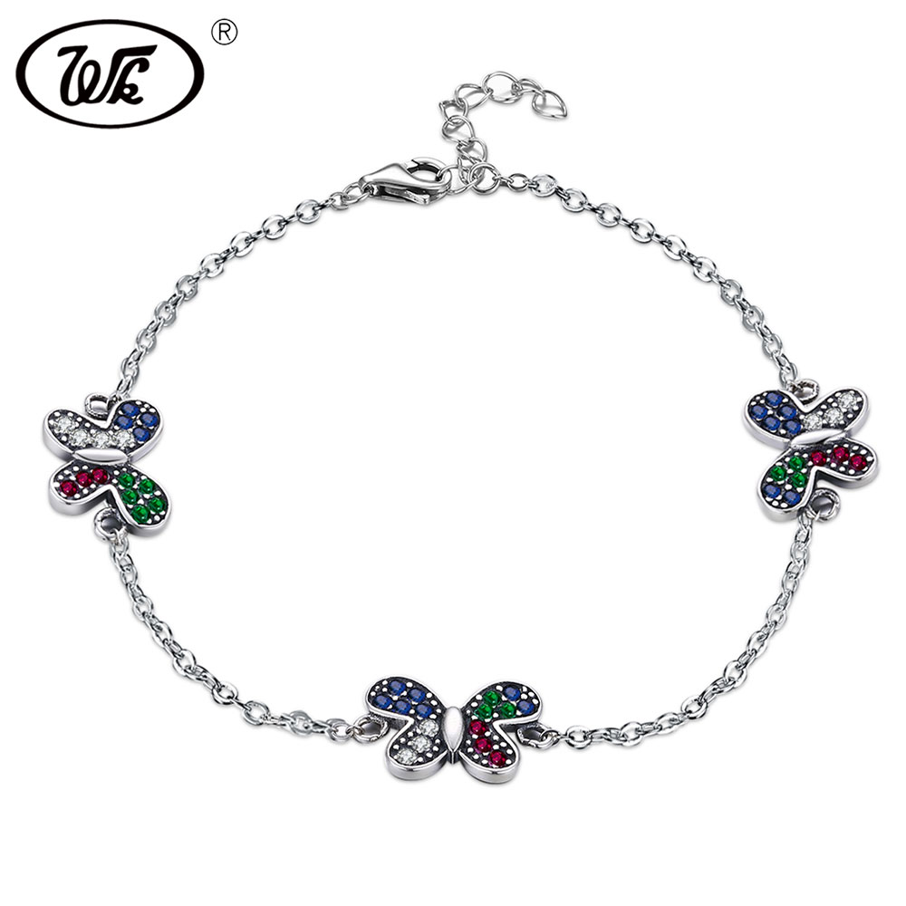 WK 925 Sterling Silver Vintage Classic Butterfly Bracelet Women Charm Bracelets For Girls Hand Chain Jewelry Wholesale W5 NBY26 925 sterling silver expandable bracelet for women vintage lotus charm flowers engraved bracelets