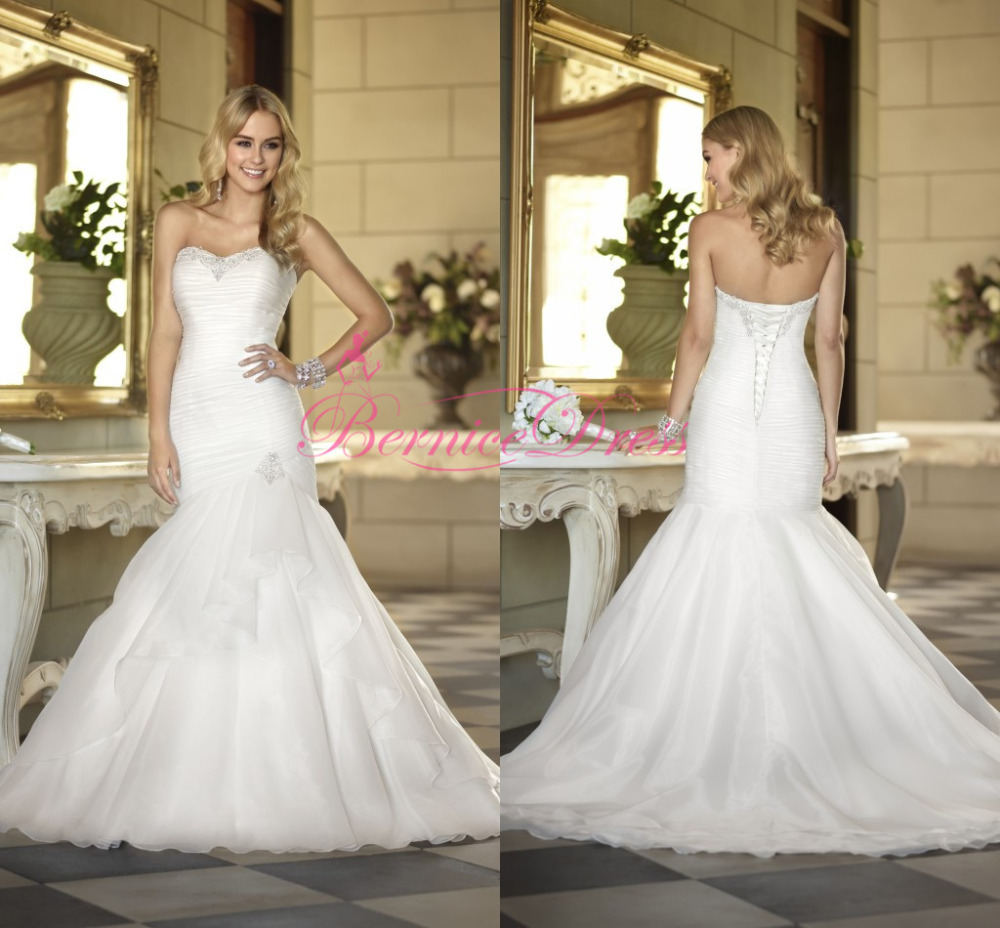 Ruching Wedding Gowns: Buy Bridal Gown 2014 Mermaid Court Train White Organza