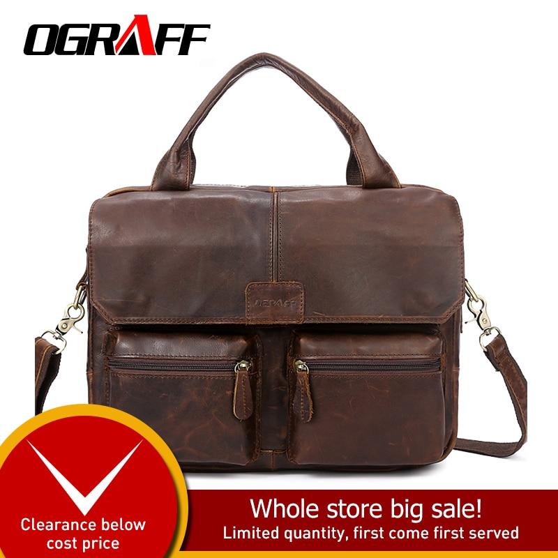 OGRAFF Men Handbag Leather Handbag Bolsas Genuine Leather Bag Luxury Design Shoulder bag Black Big bags