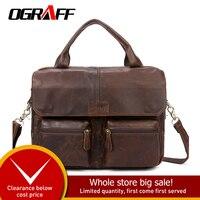 OGRAFF Men Handbag Leather Handbag Bolsas Genuine Leather Bag Luxury Design Shoulder bag Black Big bags male bag leather vintage