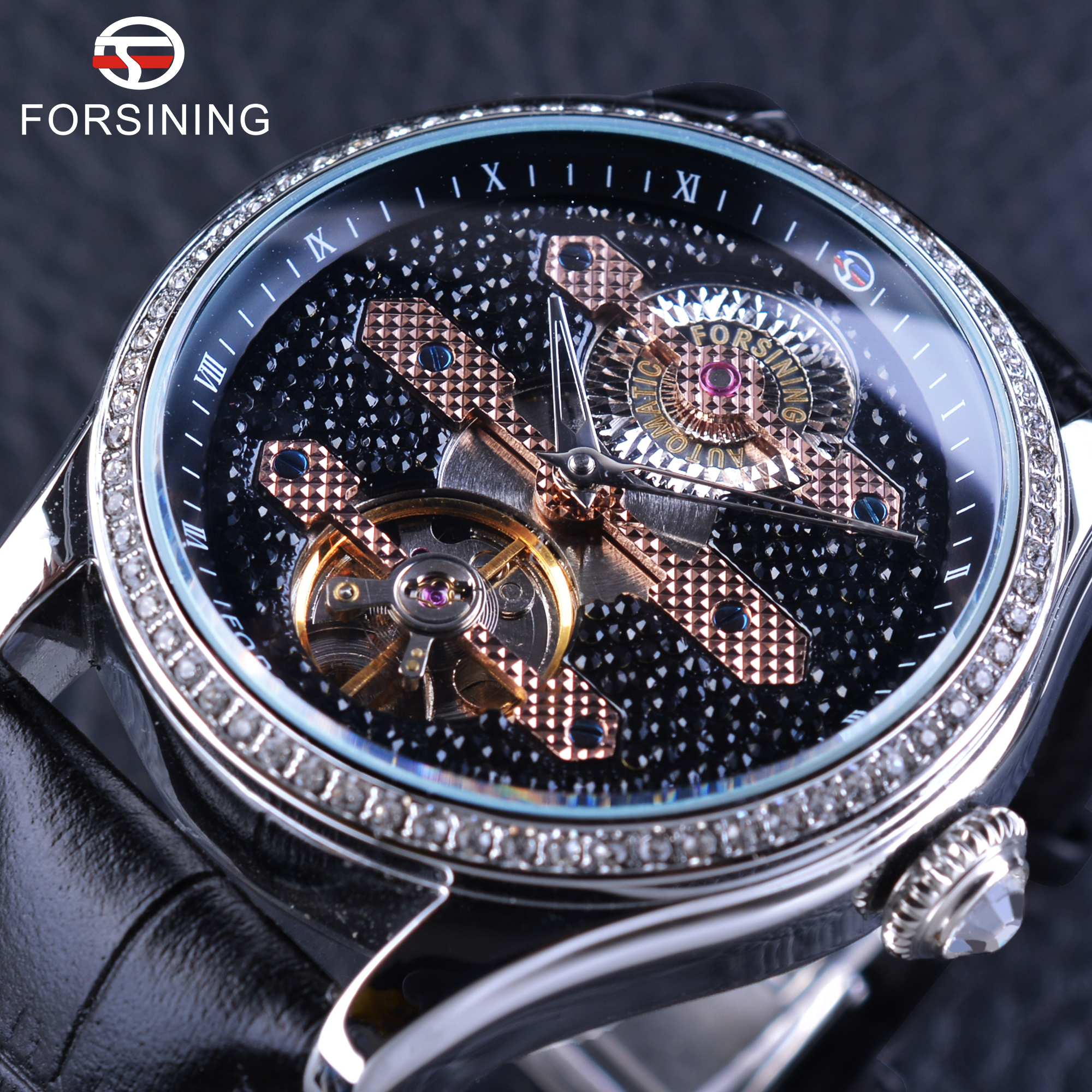 Forsining 2017 Fashion Tourbillion Diamond Dial Design Top Luxury Brand Mens Mechanical Watches Genuine Leather Strap ClockForsining 2017 Fashion Tourbillion Diamond Dial Design Top Luxury Brand Mens Mechanical Watches Genuine Leather Strap Clock