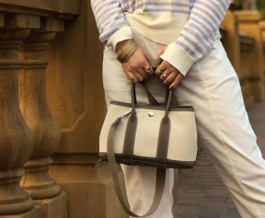 Top kwaliteit tas canvas en leer tote grote capaciteit brede band zilveren gesp vrouwen handtassen-in Top-Handle tassen van Bagage & Tassen op  Groep 2