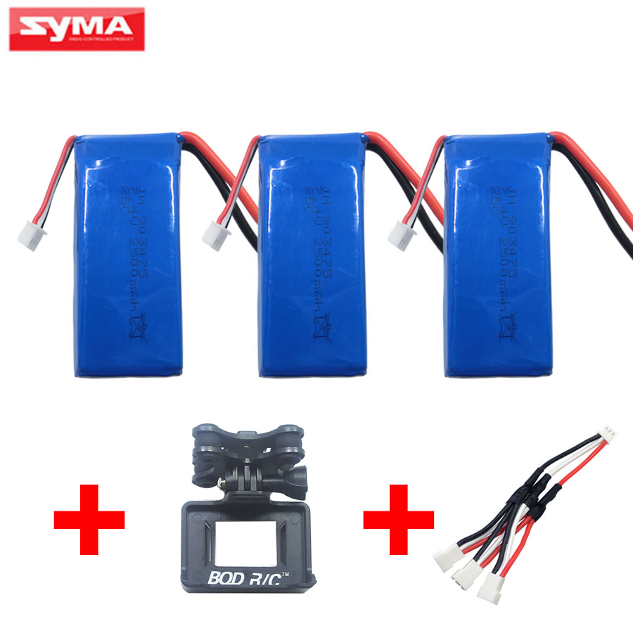 Syma X8W X8C X8G X8HC X8HW X8HG RC Drone Spare Parts 7.4V 2500mAh 25c Battery + Gimbal + Charger For Quadcopter Accessories hg p401 402 601 1 10 rc car parts 7 4v charger hg cha01