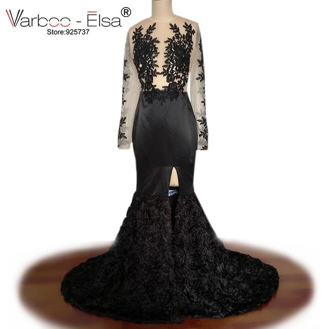 1a7c4e7f9 Varboo elsa por encargo sexy Sheer volver vestido de noche formal negro  satén largo vestido de noche de encaje rebordeado Vestidos de baile