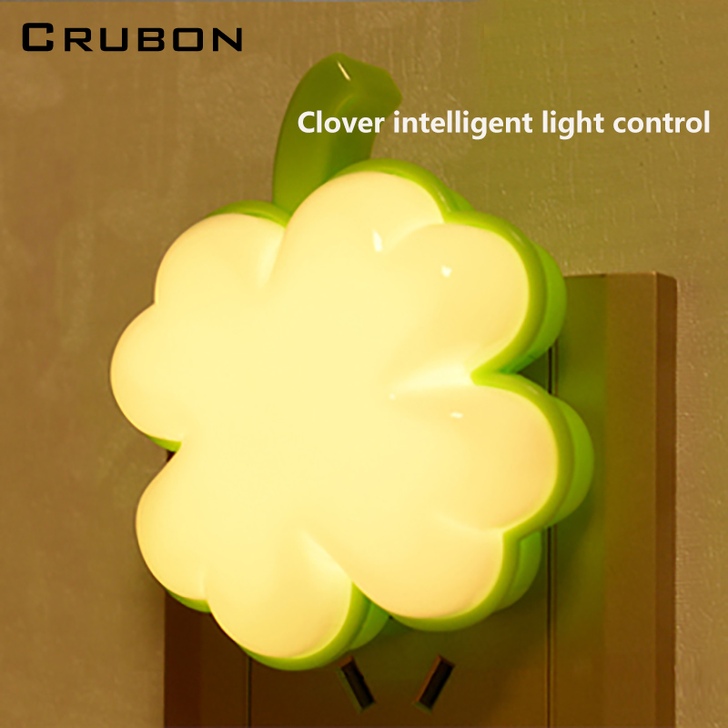 Crubon 4 Leaf Grass LED Light Motion Sensor Night Light Plug Energy Saving Mini Wireless Baby Feeding Bed Lights Creative Socket