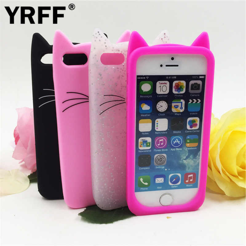 Yrff New 3d Cute Ears Cartoon Beard Cat Soft Silicone Case For Iphone 5s 5 Se 6 6s Plus 7 Plus Phone Back Cover Case Aliexpress