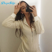 Dropship Summer Jumpsuits Casual White Long Sleeve 2018 Womens Playsuits Sexy Skinny O Neck Warm Velvet