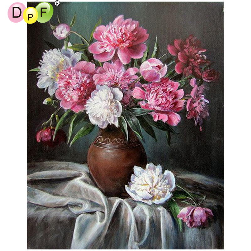 DPF Flowers on the table 5D square home decor diamond embroidery crafts diamond painting cross stitch needlework diamond mosaic