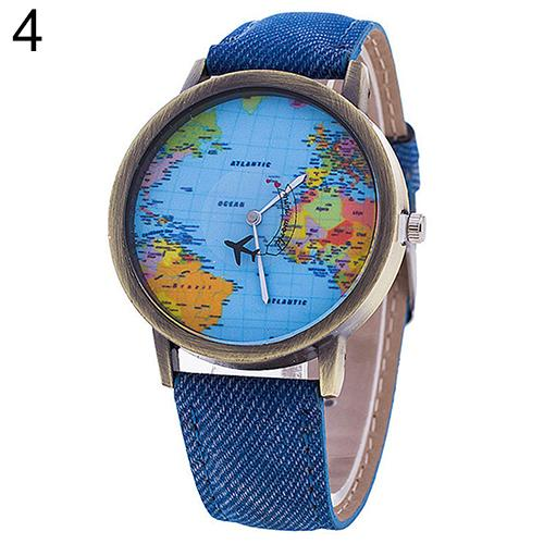 Hot Sale Mini World Fashion Quartz Watch Men Unisex Map Airplane Travel Around The World Women Leather Dress Wrist Watch Clock image