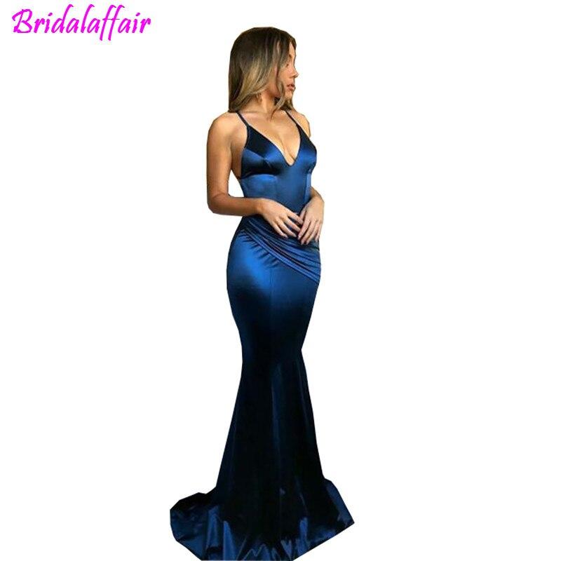 Robes De bal bleu Royal longue soie Satin sirène femmes robe de soirée Vestido De Festa robe de soirée robe De soirée longue 2018