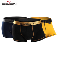 Seven7 Brand High Elastic Casual Men Underwear Boxers Sexy Comfortable 3 Pcs Pack Colorful Boxers Men