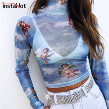 InstaHot Mesh Cupid Angel Turtleneck T Shirts Tops Women Transparent 2018 See Through Blue Elastic Skinny Crop Stretchy New