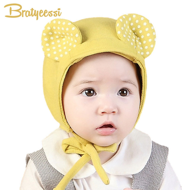 85e71d59cee Spring Cute Baby Hat with Ears Adjustable Baby Bonnet Enfant Cap Yellow Pink  for 1-2 Years