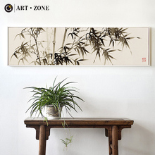 ART ZONE Chinese Ink Bamboo Painting Retro Wall Art Sea Landscape Home Living Room Study Decorative Poster Picture