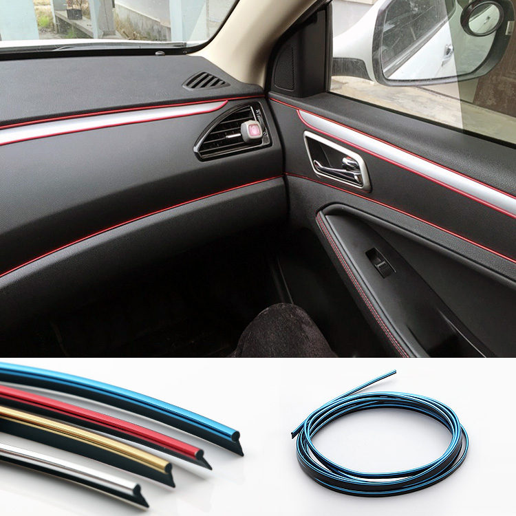 HUANLISUN 10 meters Universal Car Styling PVC embedded Decorative Strip Flexible Trim For Car Interior Exterior Moulding