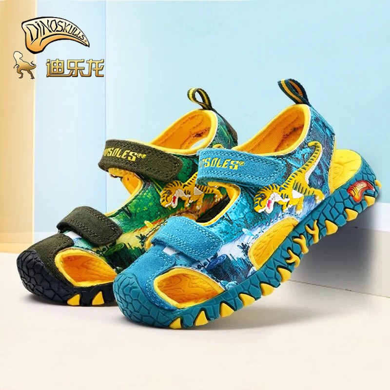 DINOSKULLS Kids Sandals 5 Boys Dinosaur Closed Toe Cut-Outs 2020 Summer New Beach Shoes Children T-rex Sandals Fashion Fastening