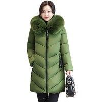 2017 Women Winter Large Fur Hooded Parkas Female Thick Warm Cotton Coat Women Wadded Winter Jackets