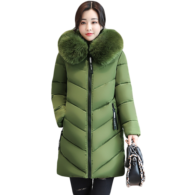 2018女性の冬の大毛皮のフード付きパーカー女性厚く暖かい綿のコート女性キルト冬のジャケット生き抜くプラスサイズ6xl CM1695
