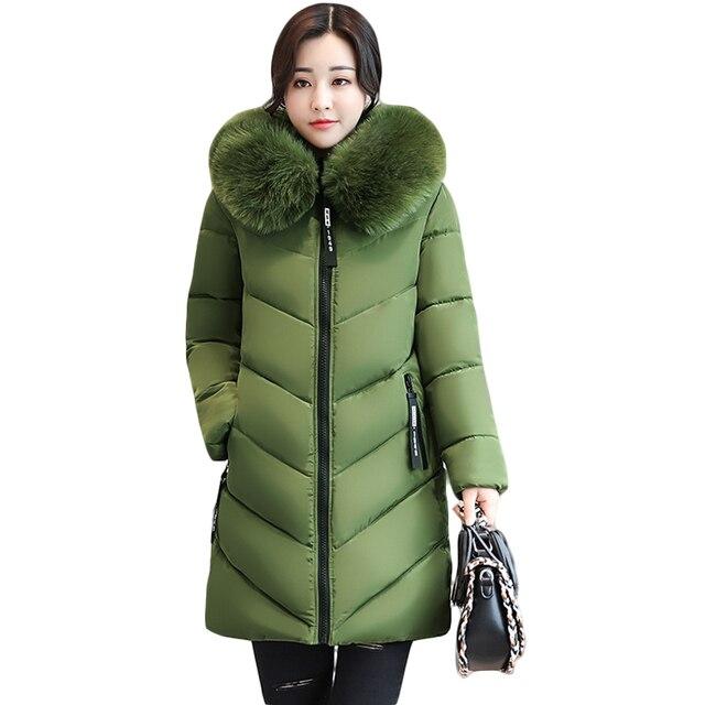 2018 Kadın Kış Büyük Kürk Kapüşonlu Parkas Kadın Kalın Sıcak pamuk Ceket Kadın Pamuk Kış Ceketler Dış Giyim Artı Boyutu 6XL CM1695