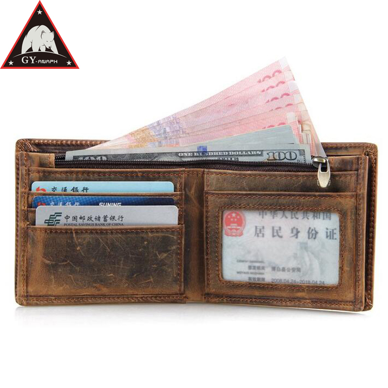 2018 Men Leather Wallets Mens Crazy Horse Wallet with Coin Bag Zipper Small Money Purses New Design Dollar Slim Purse Money Clip