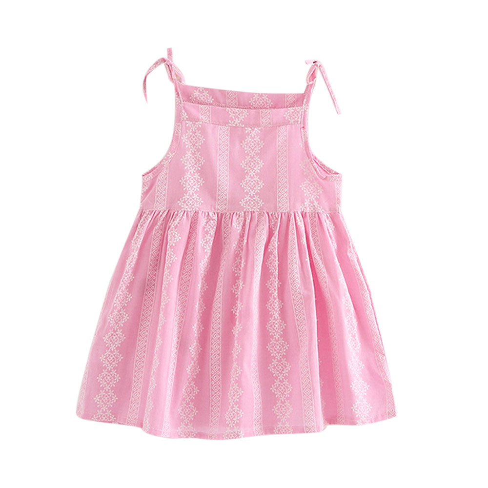 Cute Baby Dress For Girls Toddler Girls Summer Princess Dress Kids Baby Square Collar Party Wedding Bow Sleeveless Dresses 2-7T baby girls dress summer lace princess kids dresses for girls embroidered solid toddler costumes for party wedding child clothing