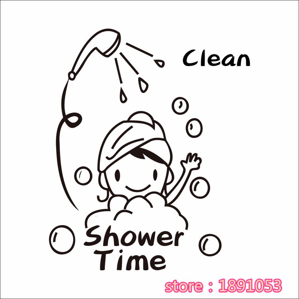 Dusche Zeit Englisch Text Muster Mädchen Baden Badezimmer Bad Dekorative  Aufkleber(China)