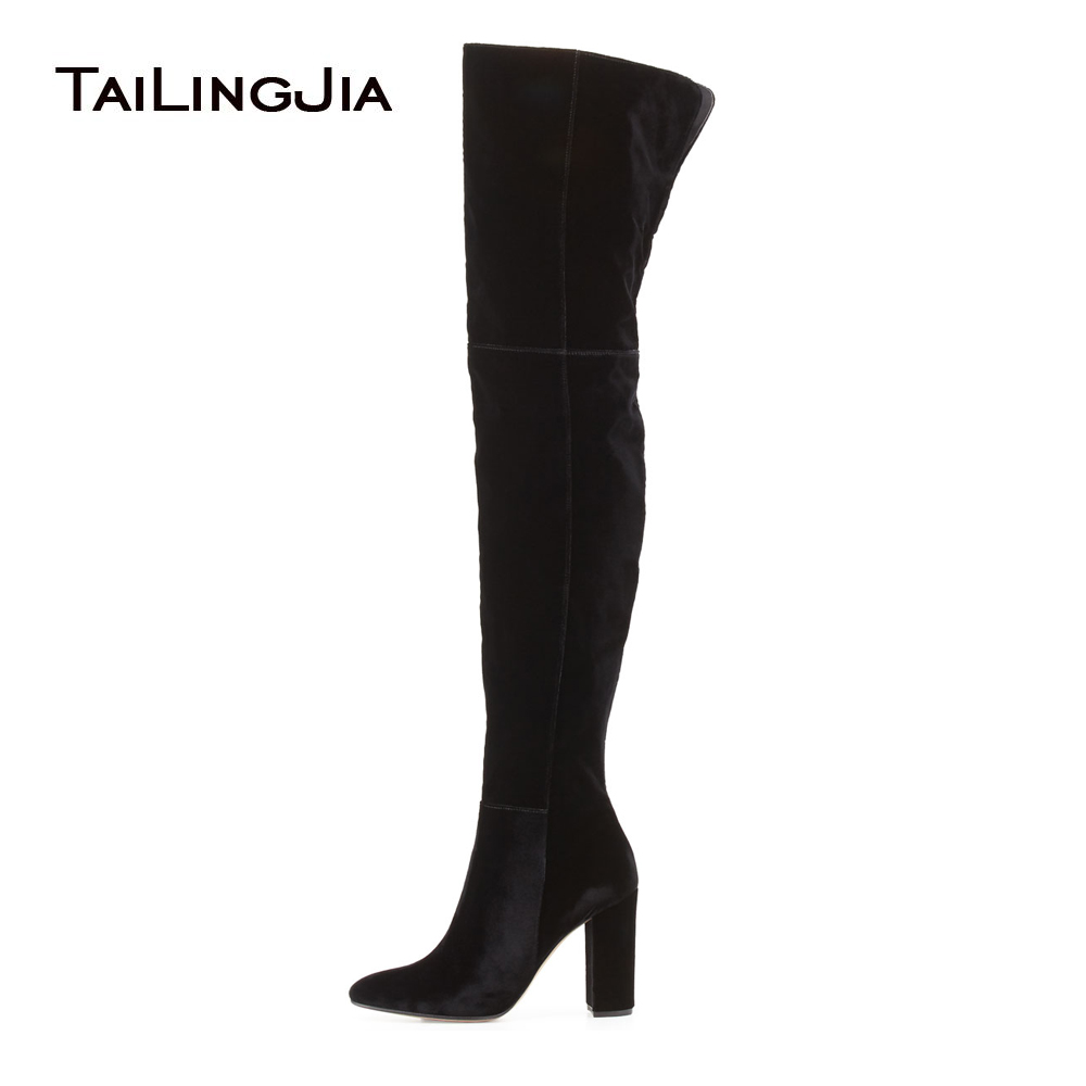 Women Black Velvet High Heel Thigh High Boots Ladies Faux Suede Round Toe Chunky Heel Over the Knee High Long Boots Big Size women over the knee boots black velvet long boots ladies high heel boots sexy winter shoes chunky heel thigh high boots