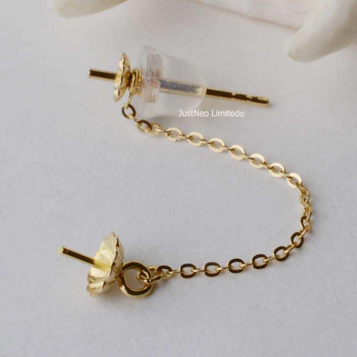 Genuine Solid 18ct Karat Yellow Gold Earstud and Ear Thread with Silicon Wrapped Earnut Stopper Earring