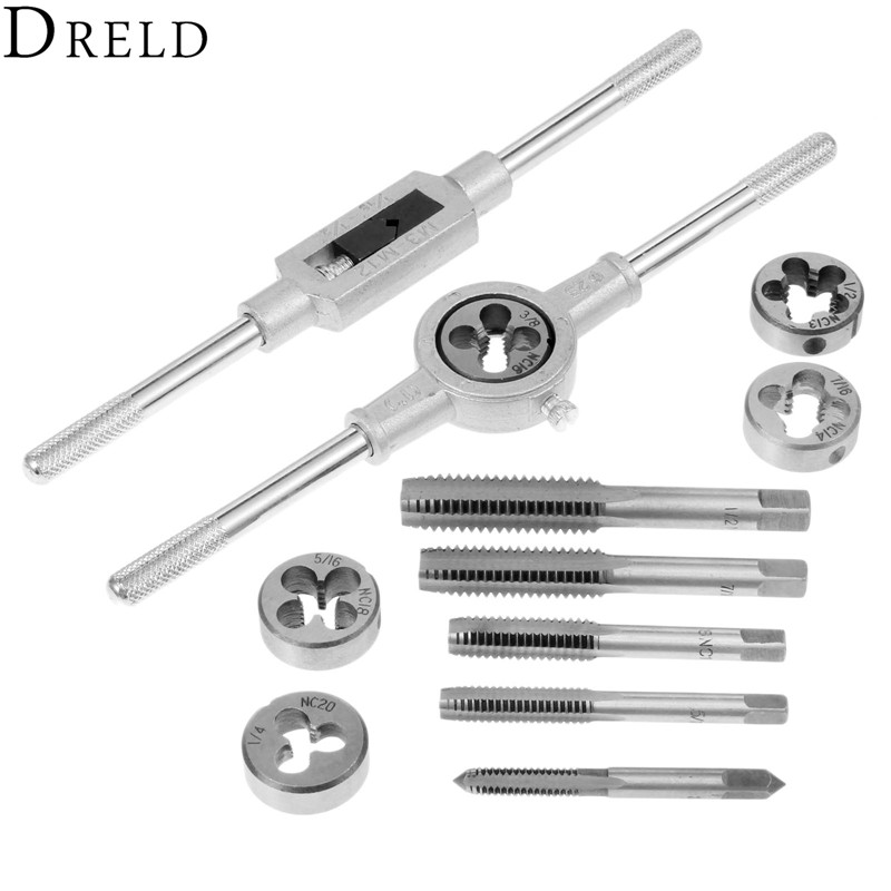 DRELD 12Pcs 1/2''-6'' Inch Tap Die Set NC Screw Thread Plugs Taps with Adjustable Wrench Alloy Steel Hand Screw Taps Hand Tools цена