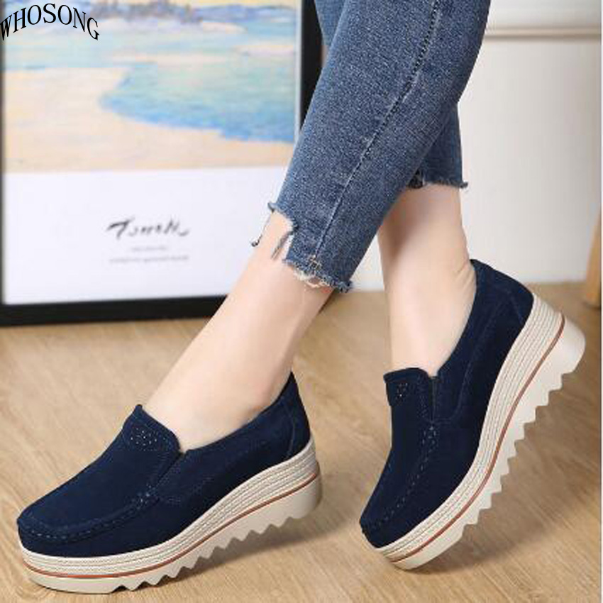WHOSONG Spring women flats shoes platform sneakers shoes   leather     suede   casual shoes slip on flats heels creepers moccasins M75