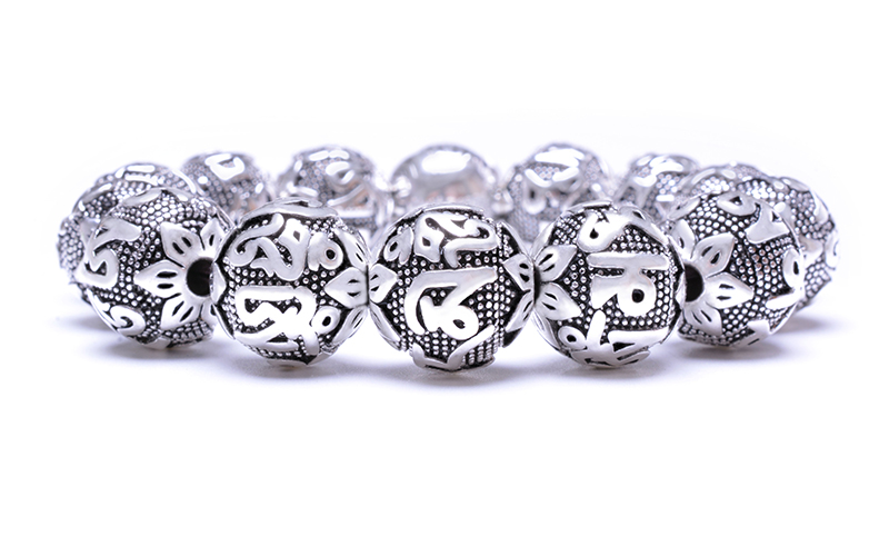 charm Fine Retro Tibetan Buddhism Plated Thai Silver rope Bracelet Men Six Words Mantras OM MANI PADME HUM Lotus Beads Bracelet 8