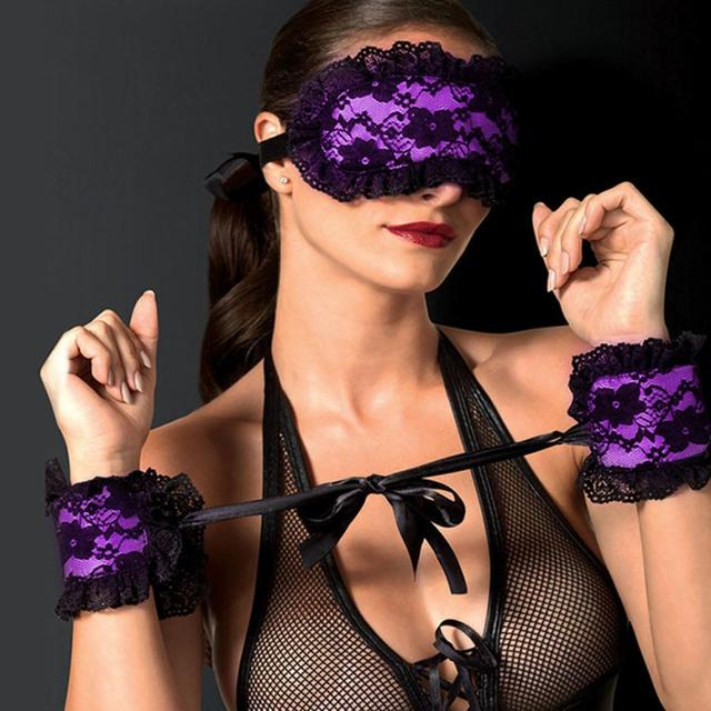 Adult Game Sex Toys For Woman Soft Lace Eye Mask With Handcuffs Suits BDSM Sex Bondage Handcuffs Erotic Toys For Couples