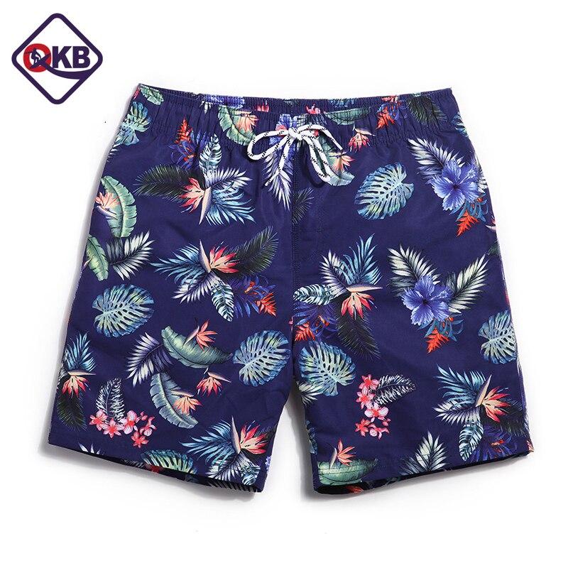 QIKERBONG Men Beach   Shorts     Board   Trunks   Shorts   Casual Quick Drying Male Swimsuits Bermuda flamingo fashion print Active   shorts