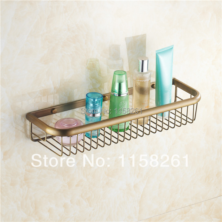 Bathroom Shelves 45cm Single Tier Antique Brass Shower Basket Holder Soap Shampoo Storage Rack Wall Mounted Bath Shelf KH-1067 single tier wall mounted black finish carving brass bathroom shower shampoo shelf basket holder i633