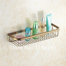 Bathroom Shelves 45cm Single Tier Antique Brass Shower Basket Holder Soap Shampoo Storage Rack Wall Mounted