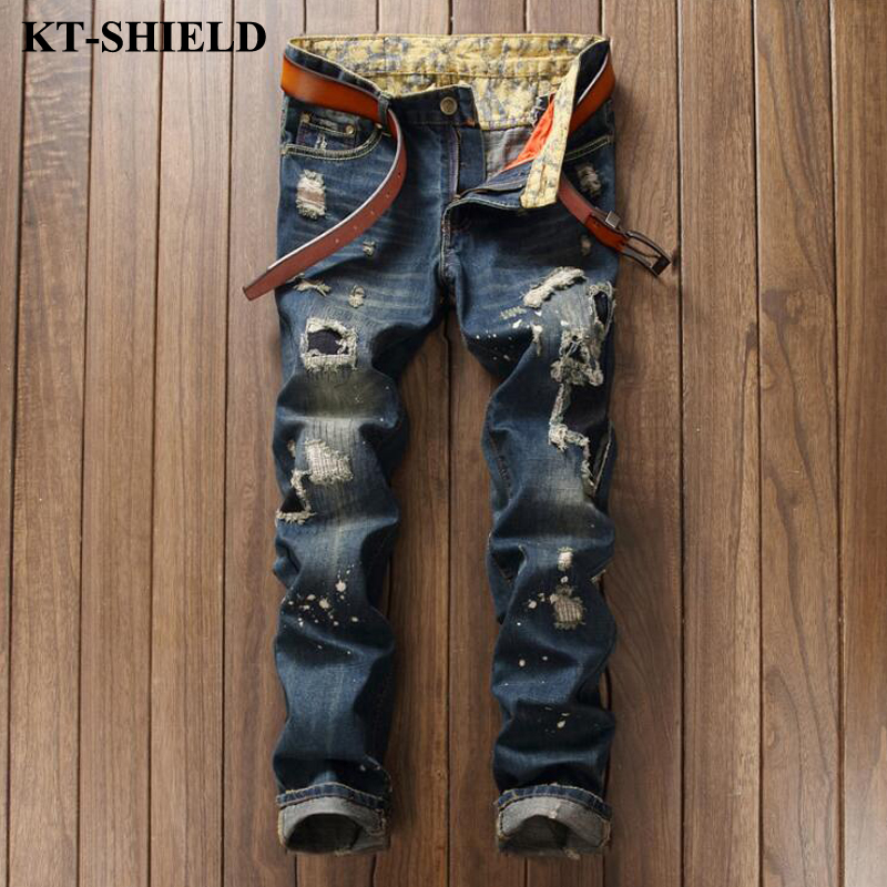 Brand designer Men Jeans Ripped Denim Jeans Trousers High Quality Cotton Biker Distressed Jeans Men Casual