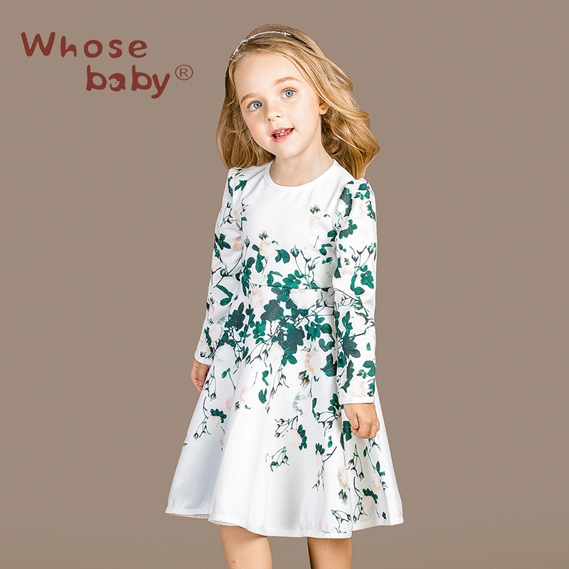 ФОТО 2016 New Girls Dresses Autumn Winter Children Long Sleeve Clothing Green Leaf Printing Princess Baby Party Wedding Clothes 3-15t