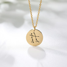 Dainty Star Zodiac Sign 12 Constellation Necklaces Women Stainless Steel Capricorn Aquarius Round Pendant Constellation Jewelry(China)