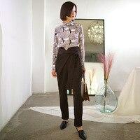 ZHEJIAN Pleat независимый дизайнер оригинальный дизайн весна новый шаблон Харен Халаза в Высокая талия костюм брюки