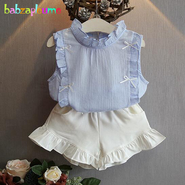 ce39a5394f6b80 2Piece/2-6Years/Summer Baby Girls Outfit Korean Kids Clothes Chiffon  Sleeveless Blue T-shirt+Shorts Children Clothing Set BC1097