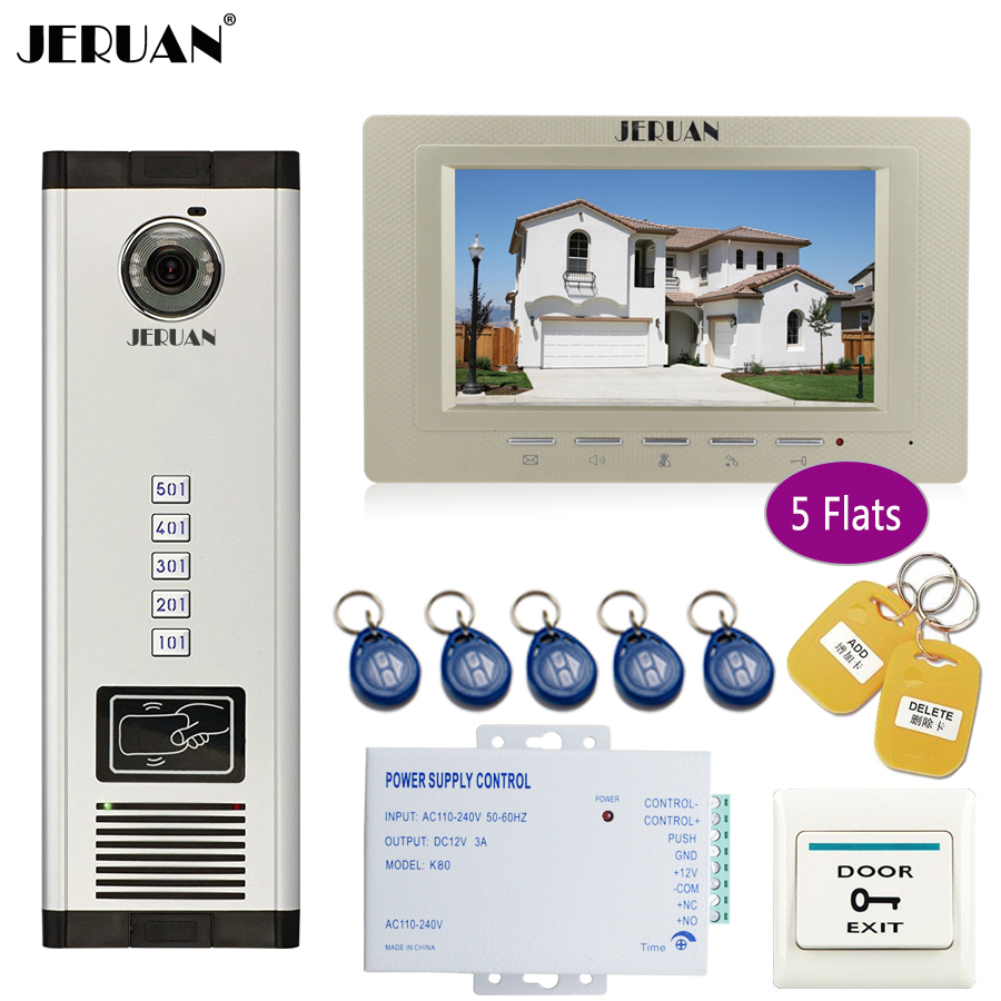 JERUAN new 7 inch LCD Monitor 700TVL Camera Apartment video door phone 5 kit+Access Control Home Security Kit+free shipping